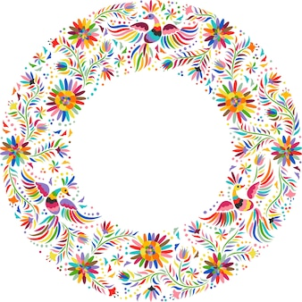Composición redonda de bordado mexicano. pájaros y flores