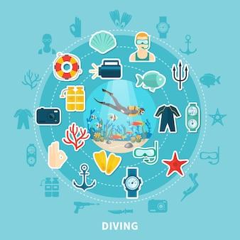 Composición redonda de buceo con equipo de buceo, aro salvavidas y fauna submarina.