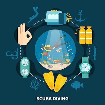 Composición redonda de buceo con persona nadando entre peces e íconos con equipo submarino