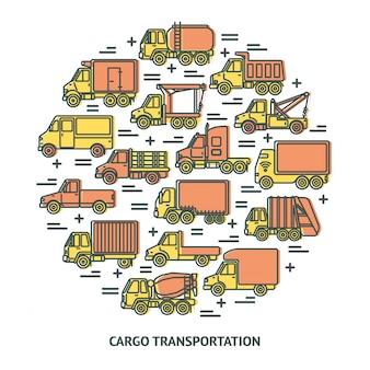 Composición redonda con camiones en línea.