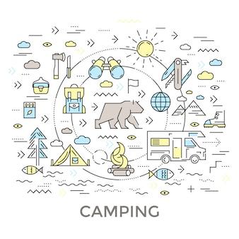 Composición redonda de camping