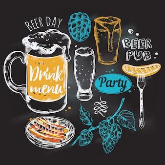 Composición redonda de cerveza de dibujo