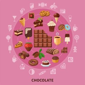 Composición redonda de chocolate sobre fondo rosa con bebida de granos de cacao, pasteles, dulces, helado