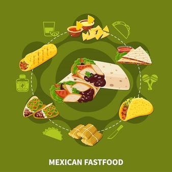 Composición redonda de comida rápida mexicana
