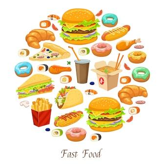 Composición redonda de comida rápida