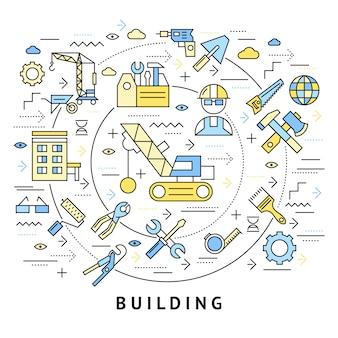 Composición redonda de construcción