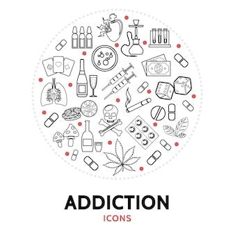 Composición redonda con elementos de adicción.