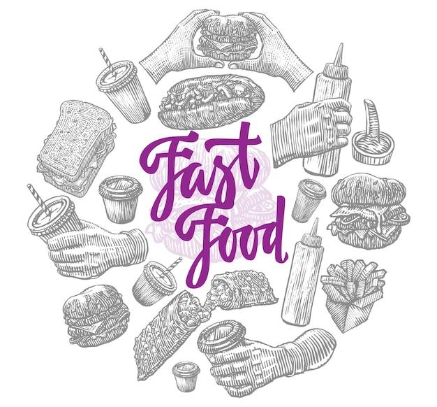 Composición redonda de elementos de comida rápida