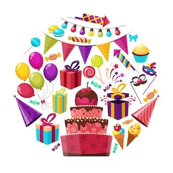 Composición redonda de elementos de cumpleaños