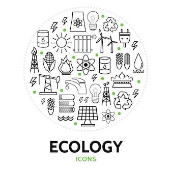 Composición redonda con elementos ecológicos.