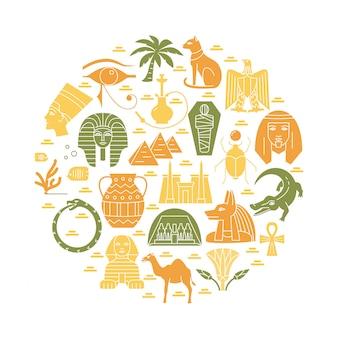 Composición redonda con elementos de egipto.