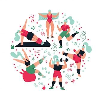Composición redonda entrenamiento en el gimnasio.