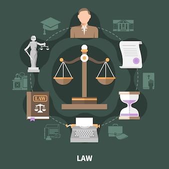 Composición redonda de la escala de la justicia