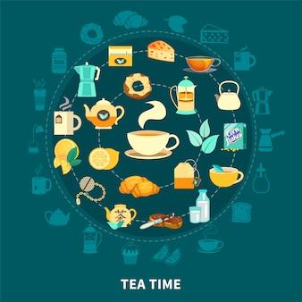 Composición redonda de la hora del té