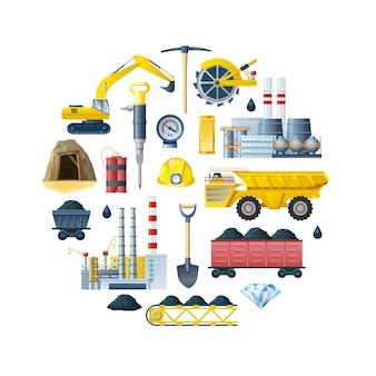 Composición redonda de la industria minera