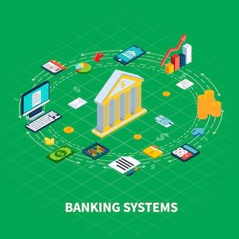 Composición redonda isométrica de datos de elementos del organizador e iconos de dinero con electrónica informática y fachada bancaria