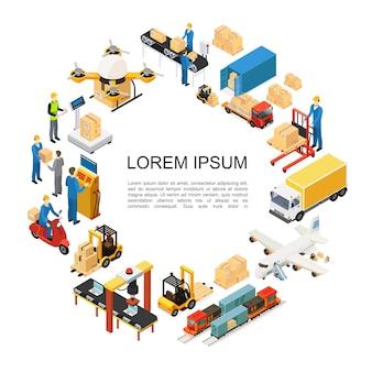 Composición redonda isométrica global de logística con aviones no tripulados, tren, camión, transporte, montacargas, montacargas y líneas de embalaje, pesaje, procesos de carga, trabajadores de almacén
