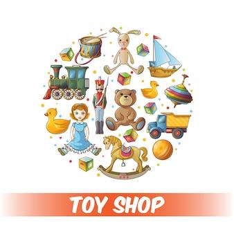 Composición redonda de juguetes para niños