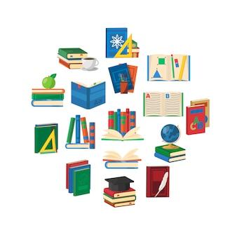 Composición redonda de libros escolares