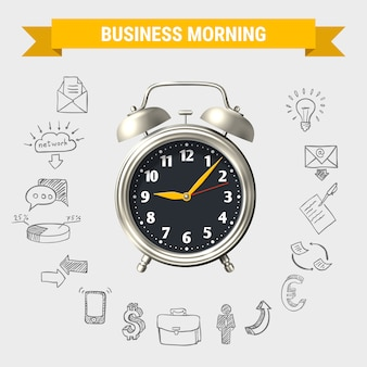 Composición redonda de la mañana de negocios