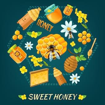 Composición redonda de miel con temas de flores y abejas de miel ilustración vectorial