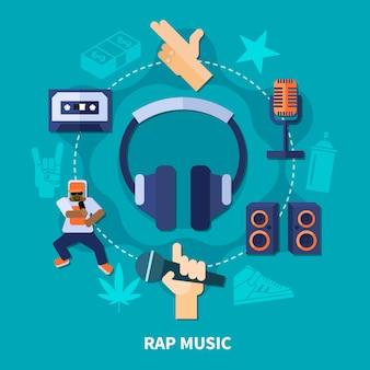 Composición redonda de música rap