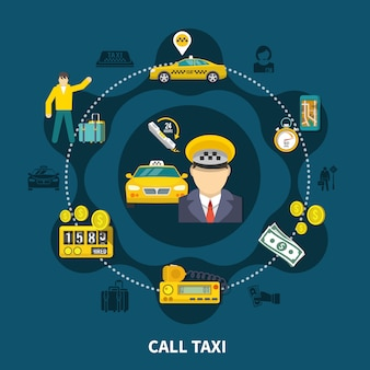 Composición redonda de la piscina de taxis