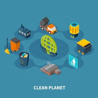 Composición redonda de planeta limpio