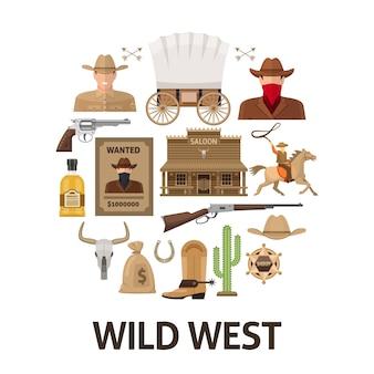 Composición redonda del salvaje oeste