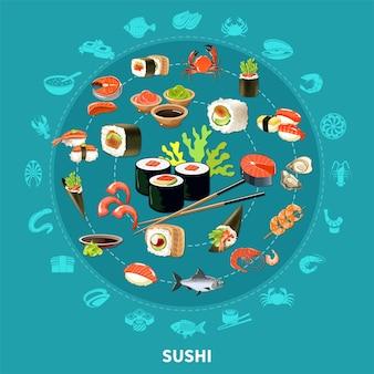 Composición redonda de sushi con conjunto de iconos planos combinados en un gran círculo coloreado e ilustración aislada