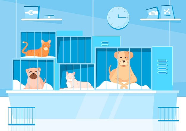 Composición del refugio de animales con paisajes interiores y personajes planos de mascotas en jaulas de diferentes tamaños.