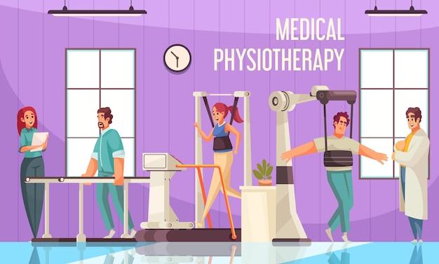 Composición de rehabilitación de fisioterapia con vista interior del gimnasio de la clínica con aparatos médicos y personajes de pacientes