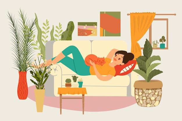 Composición relajarse mujer, concepto de habitación chica joven, tecnología moderna profesional de la casa, ilustración. apartamento interior, relax para persona, cómodo sofá.