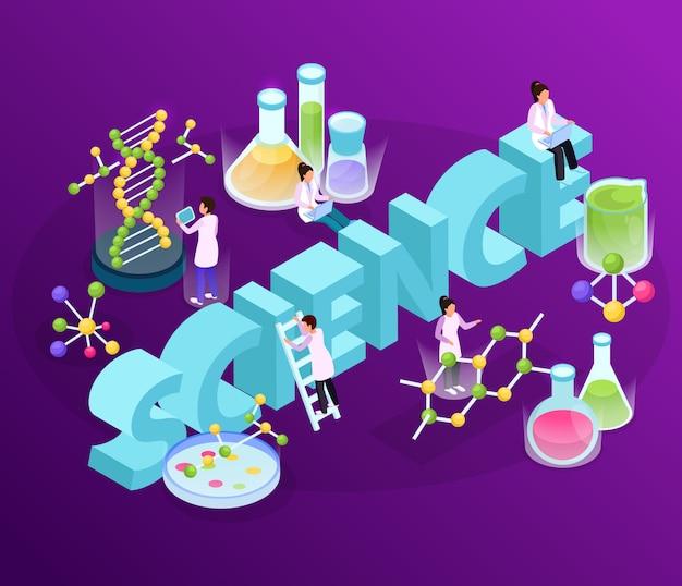 Composición de resplandor isométrico de investigación científica con grandes imágenes de texto en 3d de moléculas complejas y personajes humanos