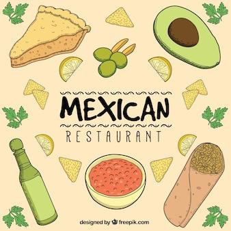 Composición de restaurante mexicano dibujada a mano
