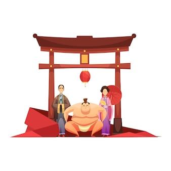 Composición retro de la cultura japonesa con luchador de sumo de pagoda y en kimono pareja vestida