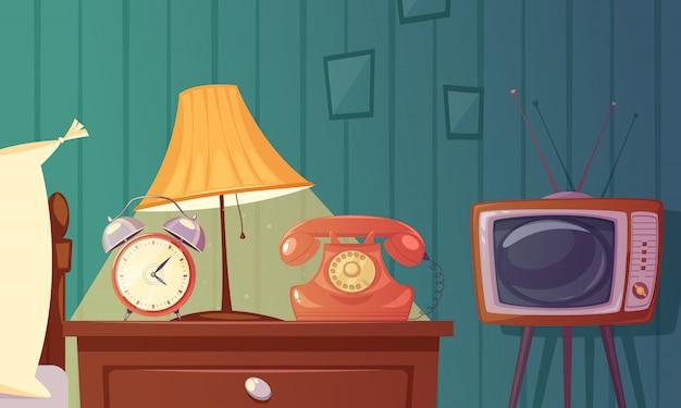 Composición retro de la historieta de los artilugios con el nightstand de la lámpara del teléfono tv del despertador