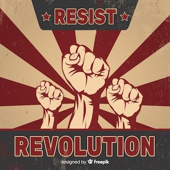 Composición de revolución con estilo vintage
