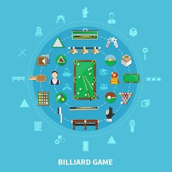 Composición de ronda de billar sobre fondo azul con jugador, equipamiento deportivo, emblemas de juego, accesorios de limpieza