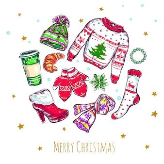 Composición de ropa de feliz navidad