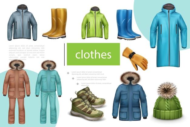 Composición de ropa masculina de invierno y otoño con chaqueta, zapatillas, botas de goma, sombrero, abrigo, guante en estilo realista