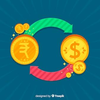 Composición de rupias indias con diseño plano
