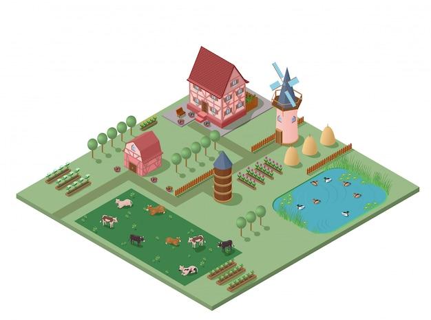 Composición rural de agricultura isométrica