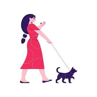Composición de rutina diaria hombre mujer con carácter de mujer paseando a su perro