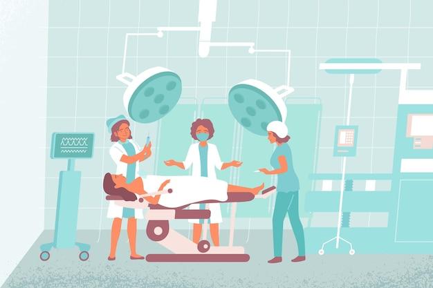 Composición de la sala de operaciones de la enfermera el cirujano trabaja en la sala de operaciones
