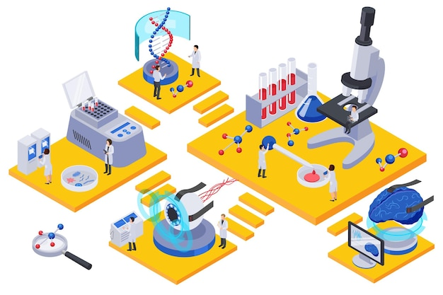 Composición de salas isométricas de tecnología futura con personajes de científicos, tubos de ensayo y equipos de laboratorio.