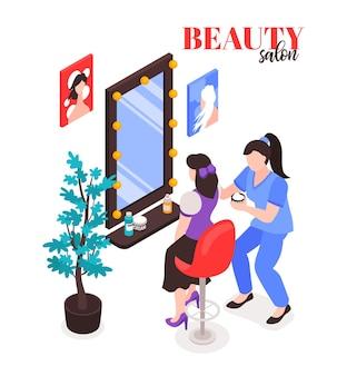 Composición de salón de belleza isométrica con texto y personajes de mujer y maquilladora con espejo