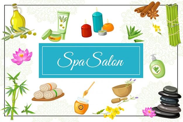 Composición de salón de spa plano con aceite de masaje natural, aloe vera, flores de loto, toallas, piedras de mortero, miel, canela, velas, bambú en el marco