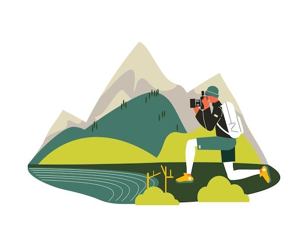 Composición de senderismo con paisaje de lago de montaña y dibujo de personaje masculino garabato con ilustración de cámara de fotos
