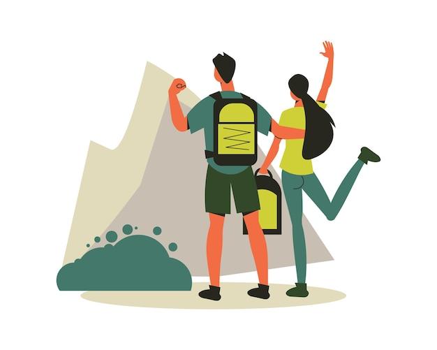 Composición de senderismo con personajes de pareja amorosa de pie en la ilustración del pico de la montaña